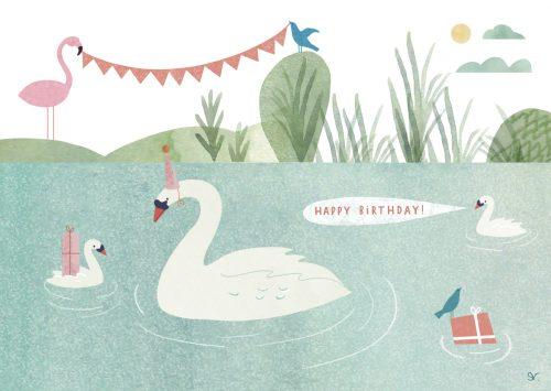 verjaardagskaart zwaan